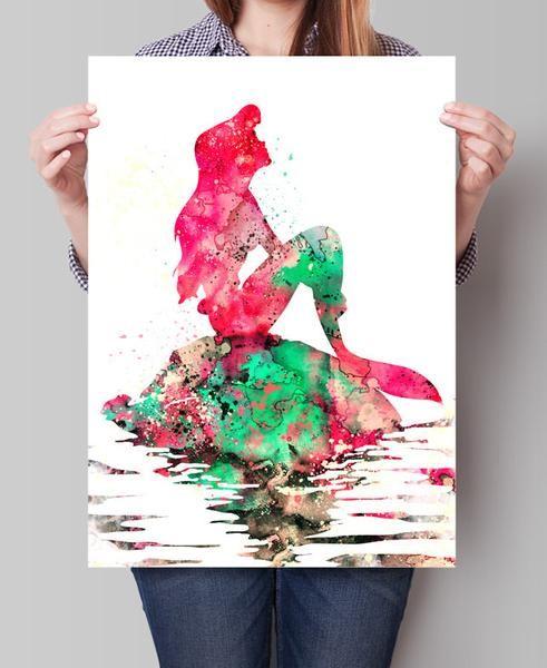 491x600 Ariel Watercolor Print, Disney Art, Watercolor Art, Nursery Room