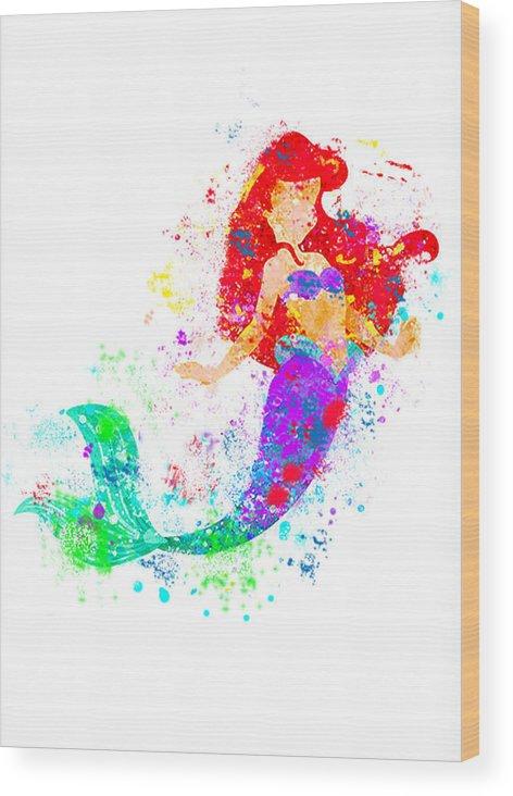 472x732 Disney Ariel Little Mermaid Watercolor Wood Print By Midex Planet