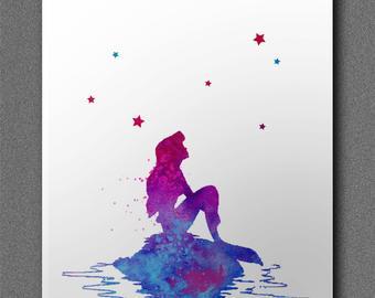 340x270 Little Mermaid Ariel Watercolor Painting Archival Fine Art