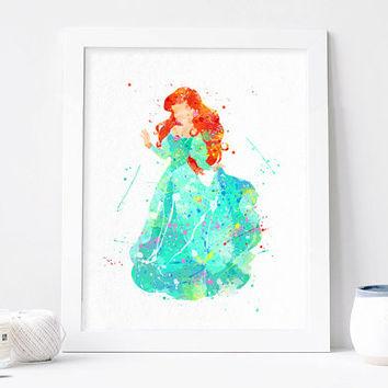 354x354 Princess Ariel Watercolor Disney Art From Aquartis Watercolor
