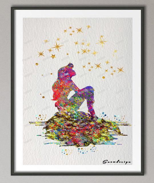 539x640 Buy Original Watercolor Little Mermaid Ariel