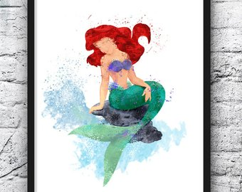 340x270 Watercolor Painting Ariel Etsy Ca