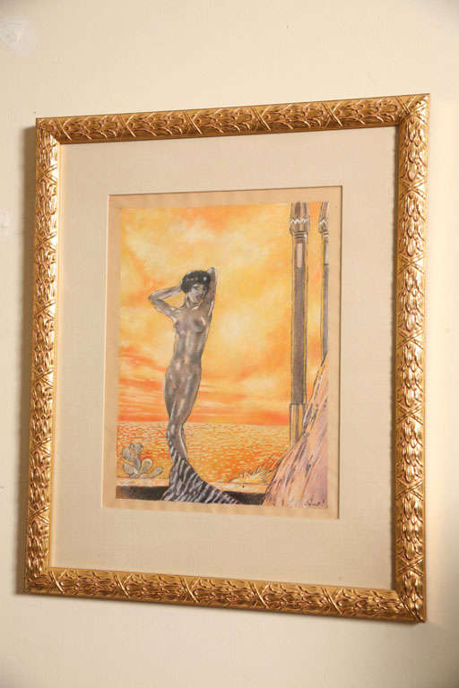 512x768 One Of A Kind French Art Deco Watercolor By Eduard Chimot Custom