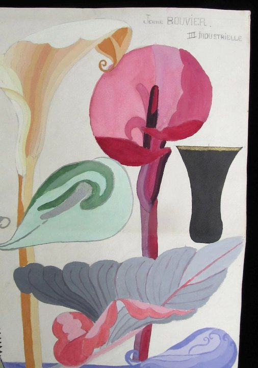 506x720 Vintage French Art Deco Watercolor Painting Large 30s Streamlined