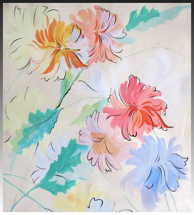 668x740 Vintage French Art Deco Watercolor Painting Large Floral Flowers