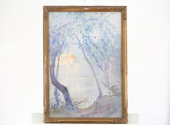 570x419 Art Nouveau French Painting Watercolor Signed Framed Original