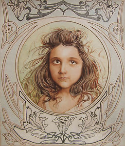 257x300 Edouard Gendrot Watercolor Drawing Portrait Child Young Girl