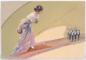 300x210 Feminist Bowley Alley, French Art Nouveau Watercolor, Early 20th
