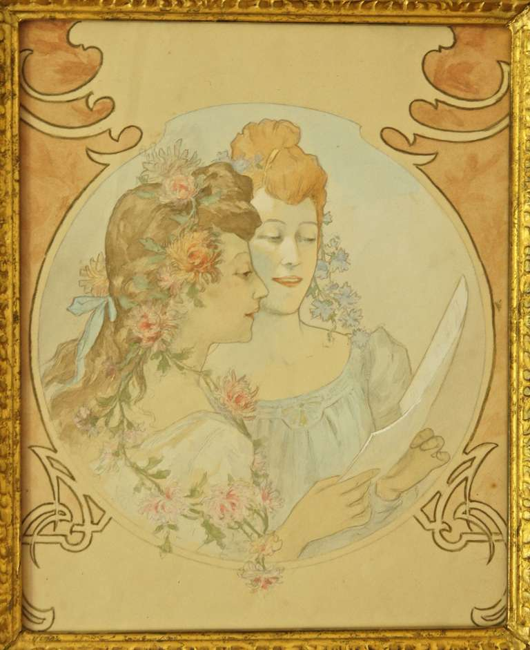 768x941 French Art Nouveau Watercolor Painting With Two Girls 1900