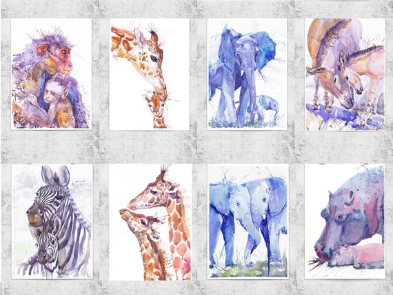 570x427 Aceo Artist Trading Cards Set Art Prints Watercolor Painting Etsy