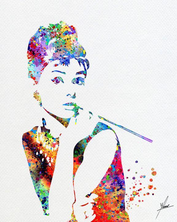576x720 Audrey Hepburn Print Watercolor Illustrations Wall Art Poster Wall