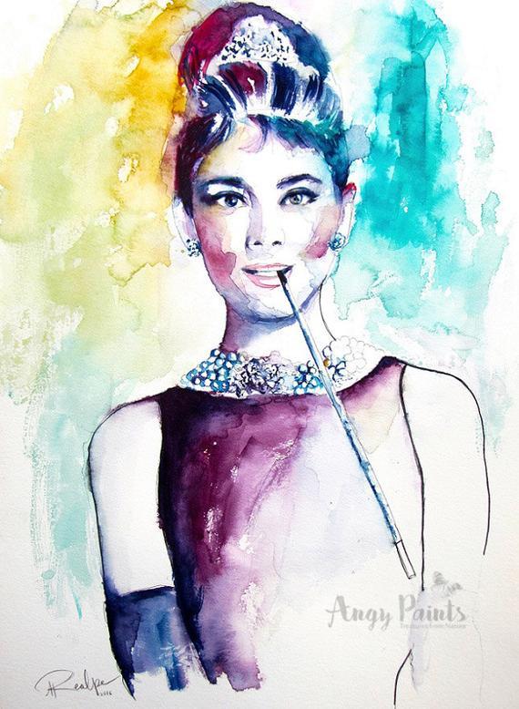 570x778 Audrey Hepburn Watercolor Art Original Artwork Original Etsy