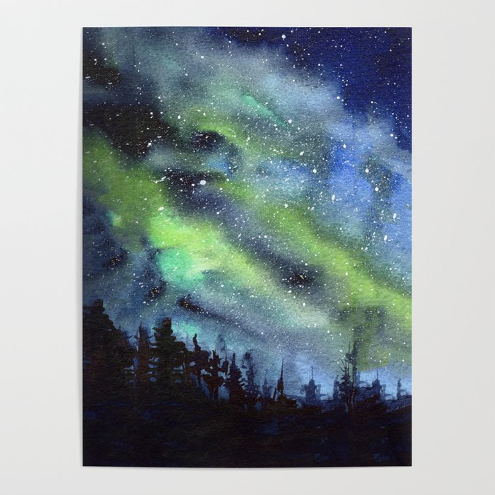 700x700 Galaxy Nebula Watercolor Northern Lights Aurora Borealis Poster By