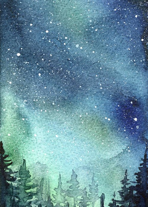 500x700 Galaxy Watercolor Aurora Painting Greeting Card For Sale By Olga