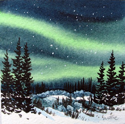 503x500 Image Result For Aurora Borealis Watercolor Watercolor