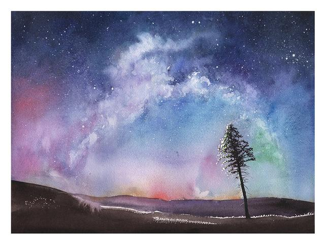 642x483 Space Art Print Watercolor Landscape Night Sky Art Aurora Etsy