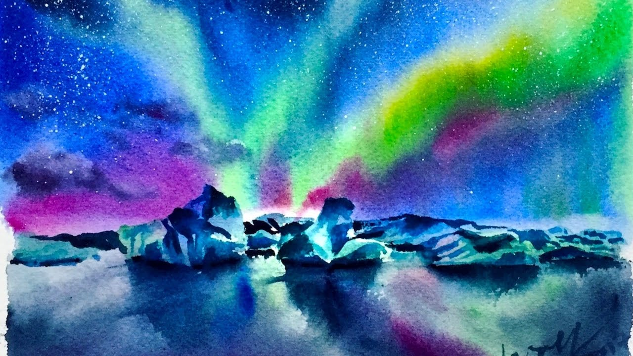 1280x720 Watercolor Aurora Glacier Demonstration