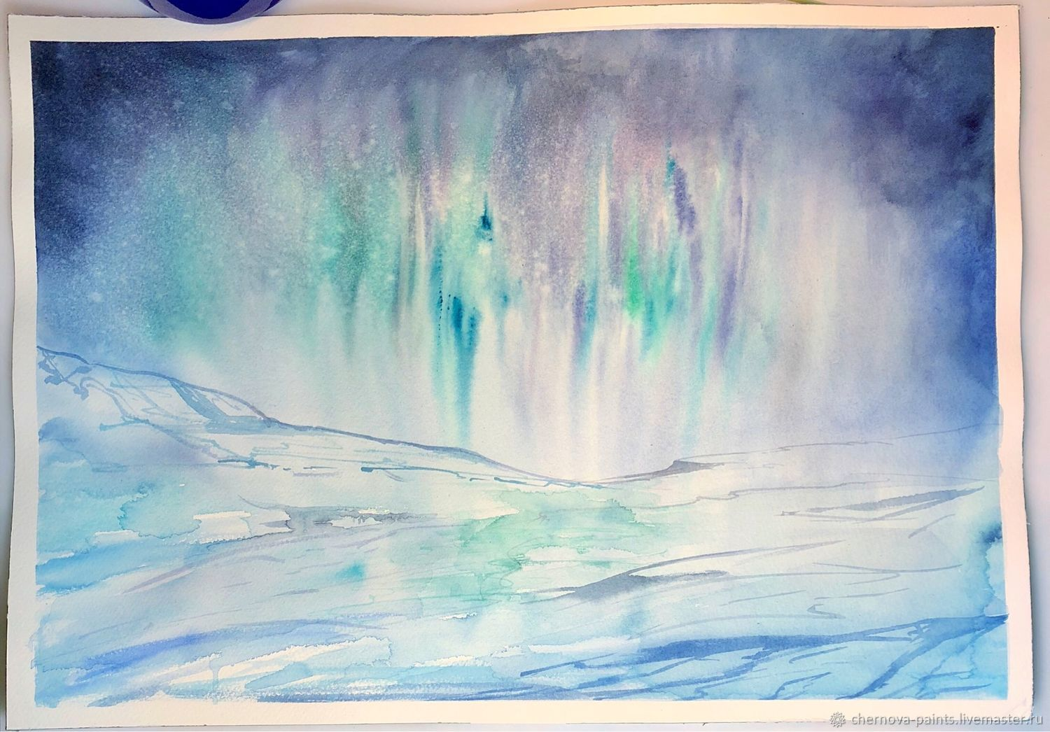 1500x1046 Watercolor Painting Aurora Borealis Shop Online On Livemaster