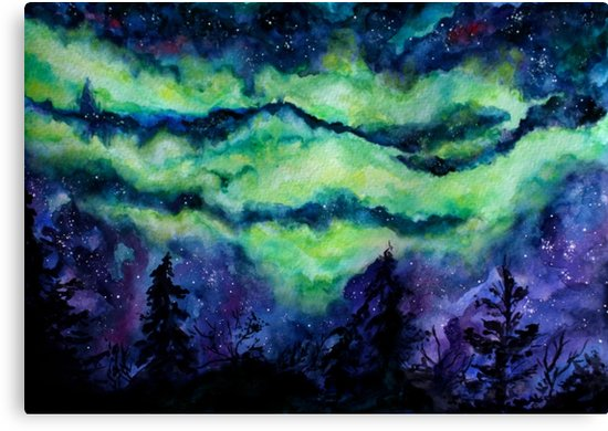 550x390 Aurora Borealis Watercolour Painting Canvas Prints By