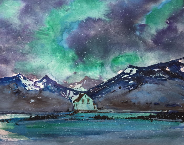 700x551 Aurora Borealis In Watercolor