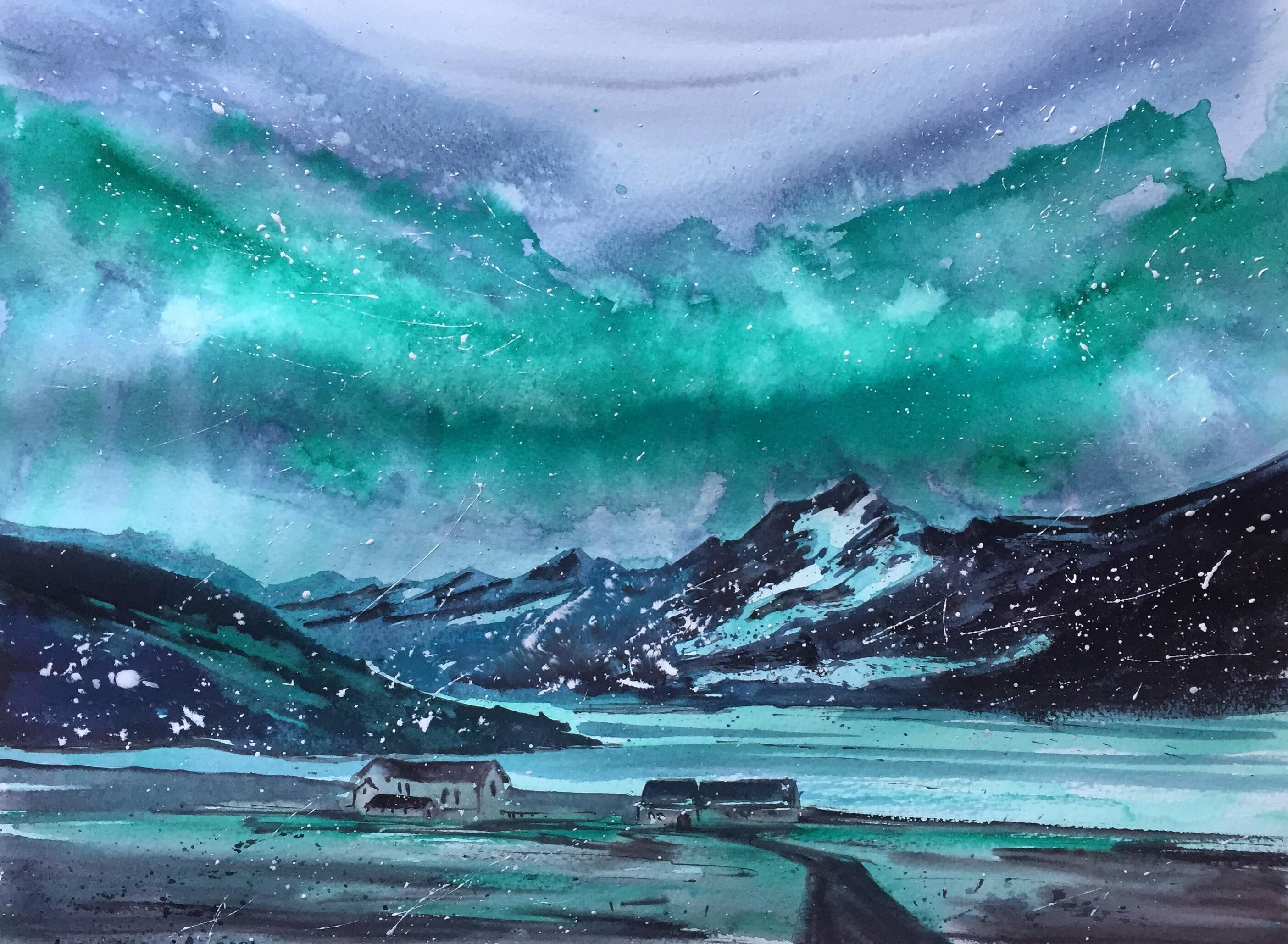 2808x2058 Aurora Borealis. Watercolor. 40x30cm. Art