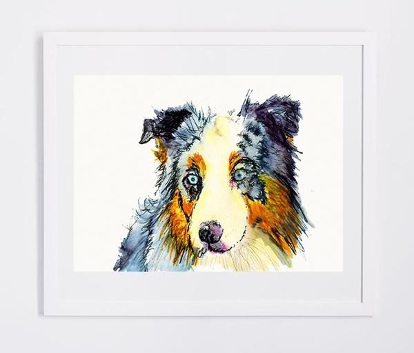 600x512 Australian Shepherd Dog Painting Watercolor Art Print Dog
