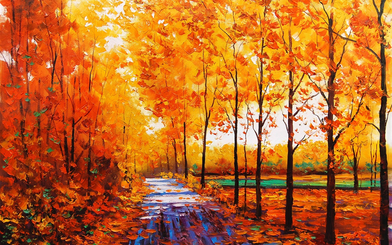 1280x800 Wallpaper Art Watercolor, Autumn Red Maple Forest With Forest Path