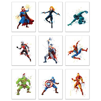 425x425 Superhero Avengers Infinity War Watercolor Poster