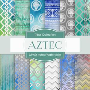 300x300 Aztec Watercolor Digital Paper Dp456 Digital Paper Shop