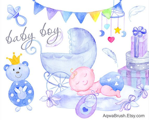 570x459 Baby Boy Watercolor Clipart Commercial Use Hand Painted Baby Etsy