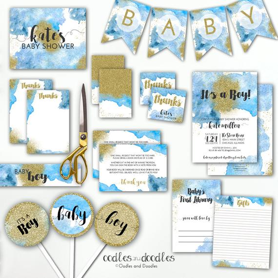 570x570 Blue And Gold Baby Shower, Blue Ombre Watercolor Boho Baby Boy