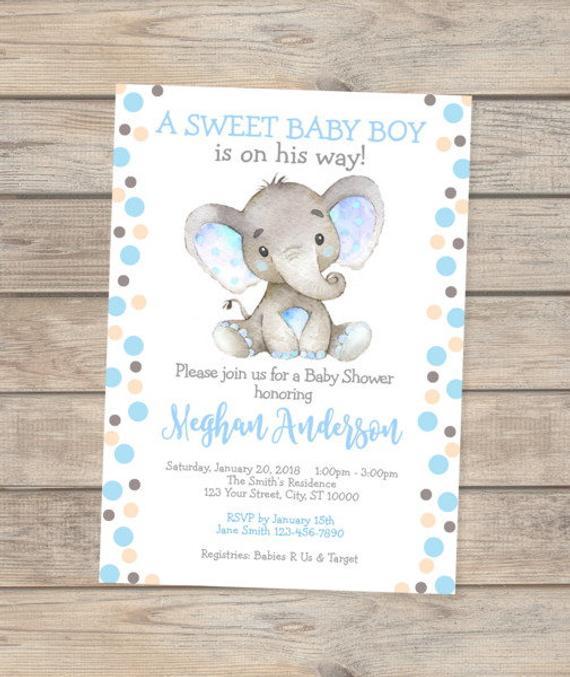 570x677 Elephant Baby Shower Invitation, Baby Boy Elephant Baby Shower