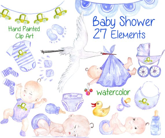570x475 Watercolor Baby Boy Clipart Baby Shower Clipart Etsy