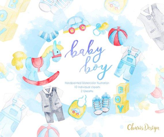 570x475 Baby Boy Baby Clipart Baby Illustration Baby Shower Baby Etsy