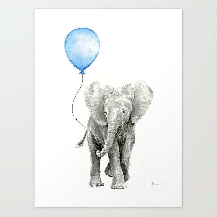 700x700 Baby Animal Elephant Watercolor Blue Balloon Baby Boy Nursery Room