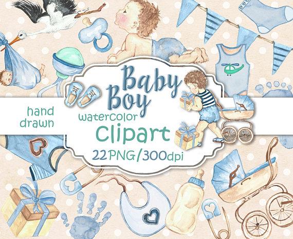 570x465 Baby Boy Clipart, Baby Clip Art, Baby Shower Invitation Diy Pack