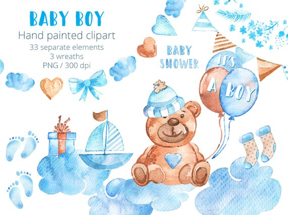 570x427 Baby Boy Clipart Set Watercolor New Baby Clip Art Hand Drawn Etsy
