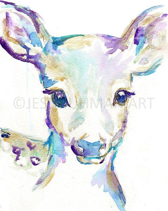 570x713 Baby Deer Watercolor Print Nursery Deer Print Deer Etsy