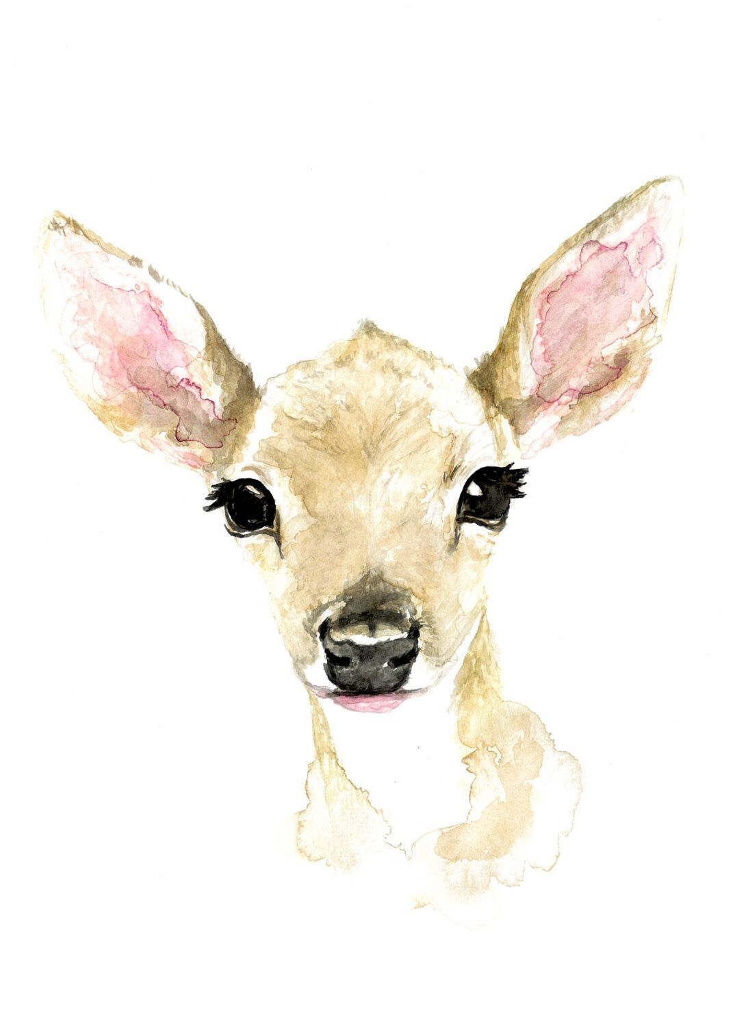 1071x1500 Baby Fawn Watercolor Print Wild Canary Studio