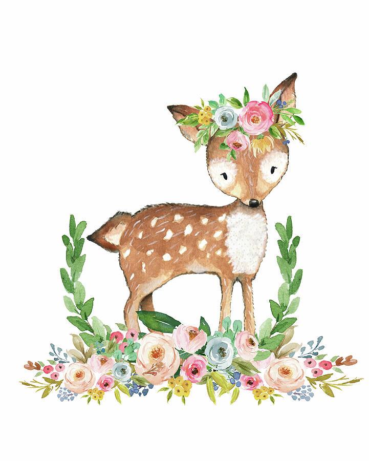 721x900 Boho Woodland Baby Nursery Deer Floral Watercolor Digital Art By