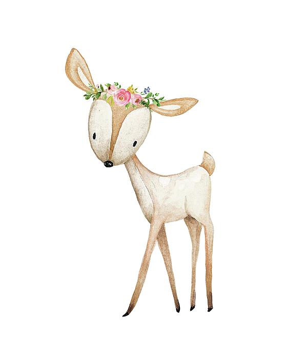 560x700 Boho Woodland Baby Nursery Deer Floral Watercolor Greeting Card