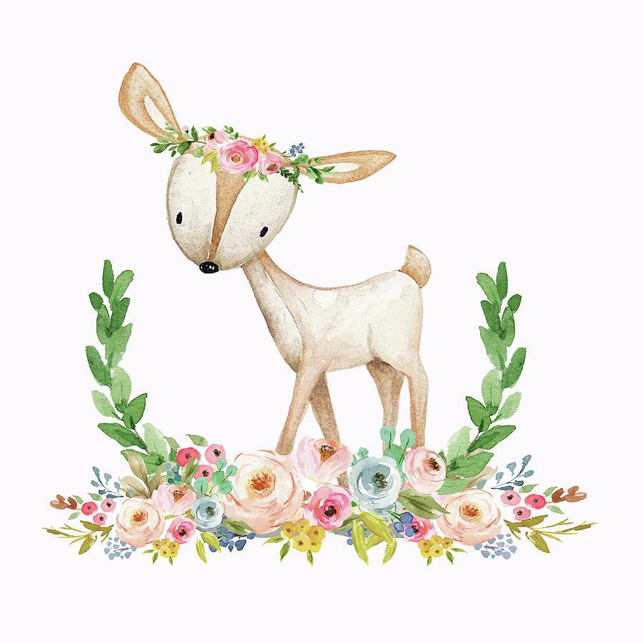 900x900 Boho Woodland Baby Nursery Deer Floral Watercolor Print Digital