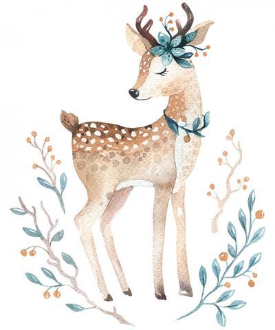 400x480 Cute Watercolor Baby Deer Shatsu