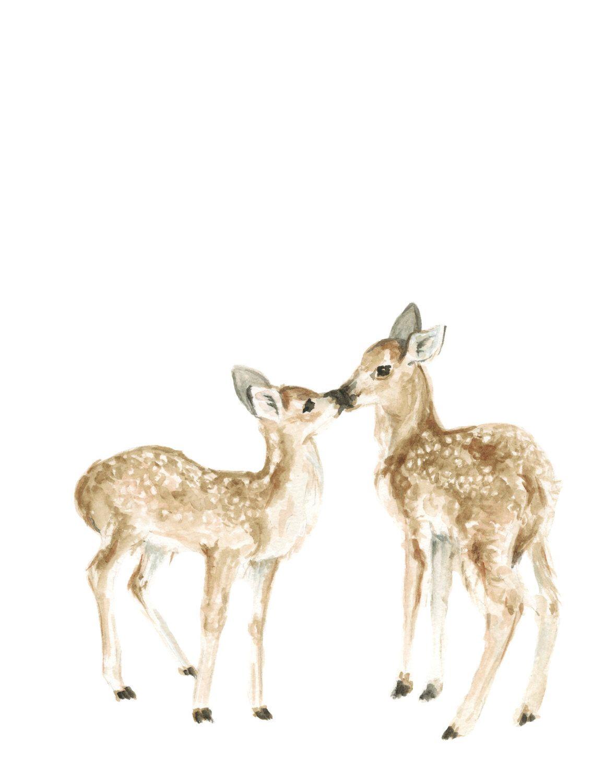 1159x1500 Kissing Deer Art Print