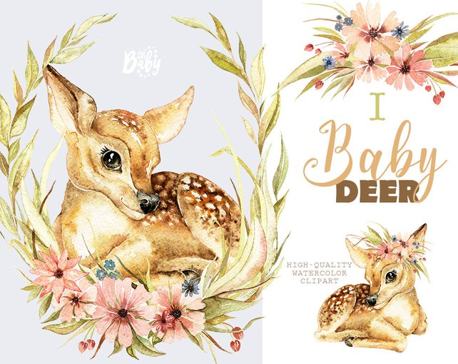 642x510 Little Baby Deer. Watercolor Animal Clipart Floral Wreath Etsy