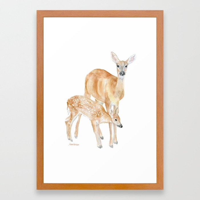 700x700 Mother And Baby Deer Watercolor Framed Art Print By Susanwindsor