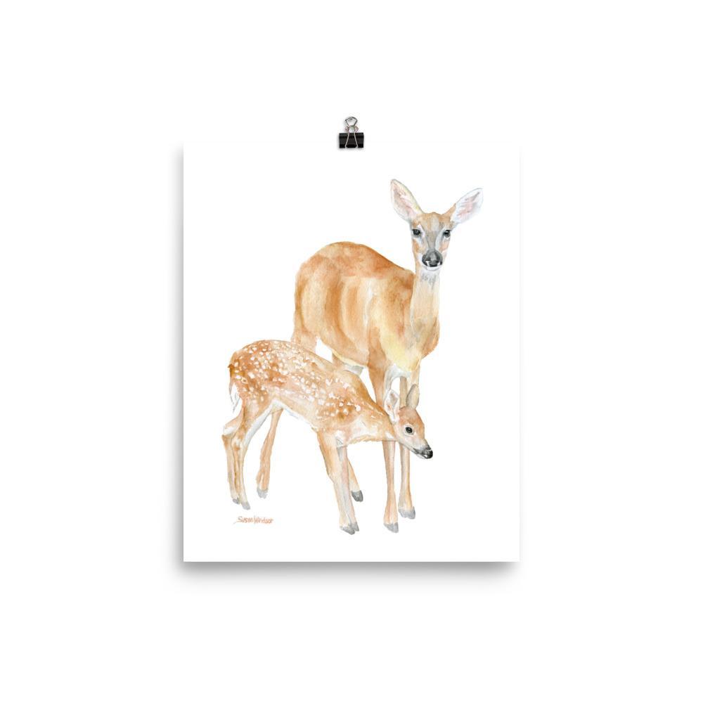 1000x1000 Mother And Baby Deer Watercolor Susan Windsor