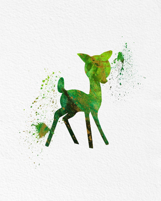 1200x1500 Watercolor Art Baby Deer Gift Modern 8x10 Wall Art Decor Cute
