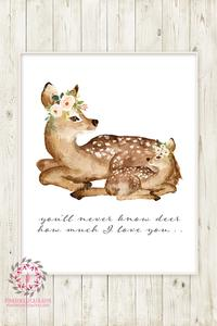 200x300 You Are My Sunshine Boho Deer Wall Art Print Fawn Woodland Floral
