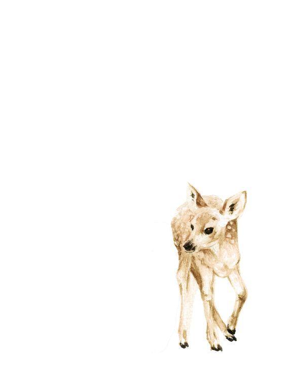 570x766 Baby Deer Watercolor Print Woodland Animal Painting